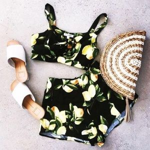 Tops - Lemon Print Cut Out Crop Top